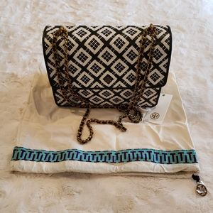 Tory Burch Robinson Woven-Leather Convertible